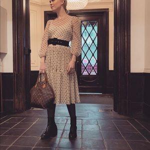 HM Light beige polka dotted oversized smock dress